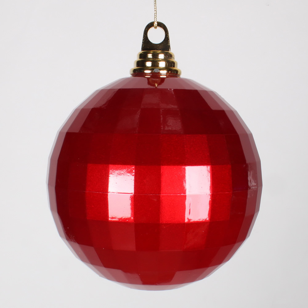 5.5 Inch Red Candy Finish Mirror Round Christmas Ball Ornament