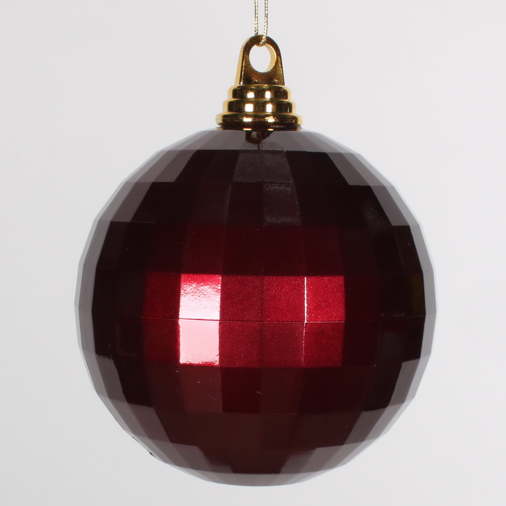 5.5 Inch Burgundy Candy Finish Mirror Round Christmas Ball Ornament