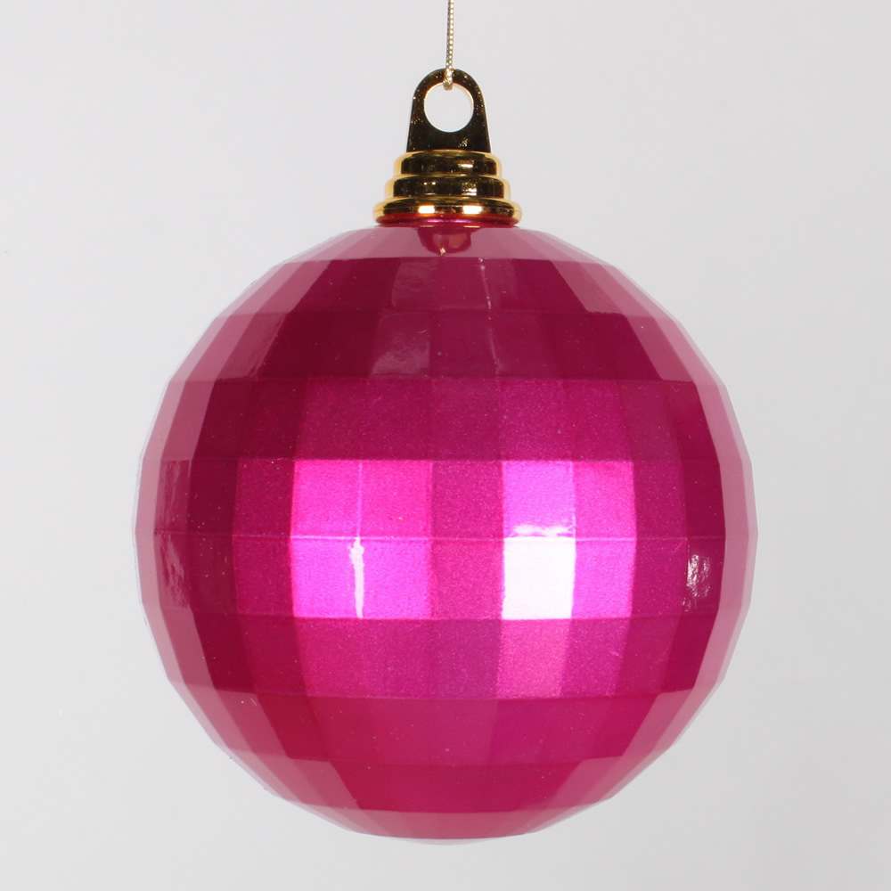 5.5 Inch Cerise Pink Candy Finish Mirror Round Christmas Ball Ornament