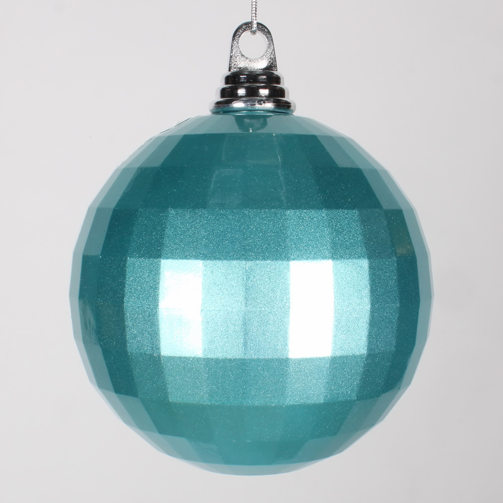 5.5 Inch Teal Candy Finish Mirror Round Christmas Ball Ornament