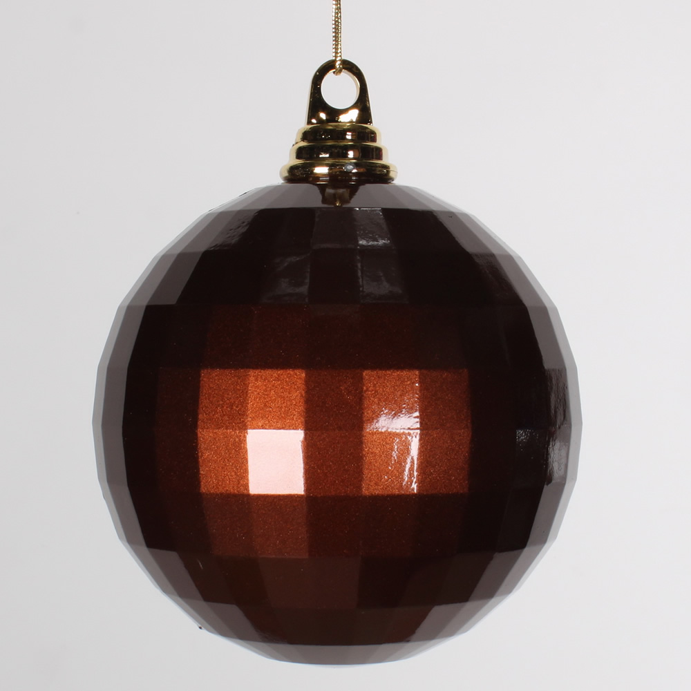 5.5 Inch Chocolate Brown Candy Finish Mirror Round Christmas Ball Ornament