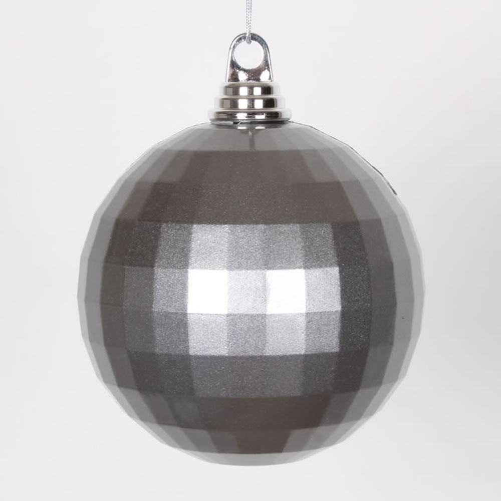 5.5 Inch Pewter Silver Candy Finish Mirror Round Christmas Ball Ornament
