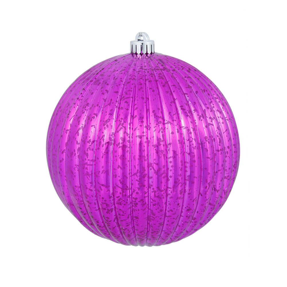 4 Inch Magenta Mercury Pumpkin Christmas Ball Ornament Shatterproof 6 per Set