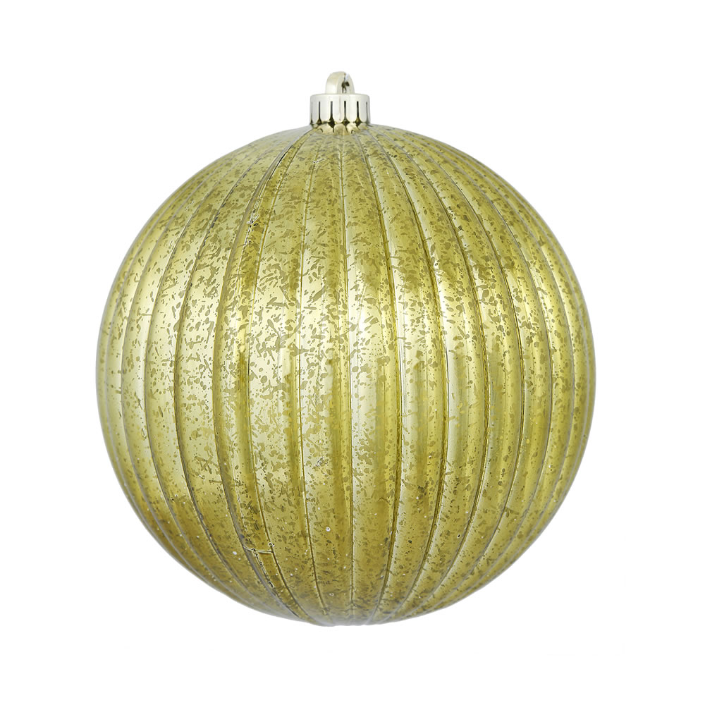 4 Inch Olive Green Mercury Pumpkin Christmas Ball Ornament Shatterproof 6 per Set
