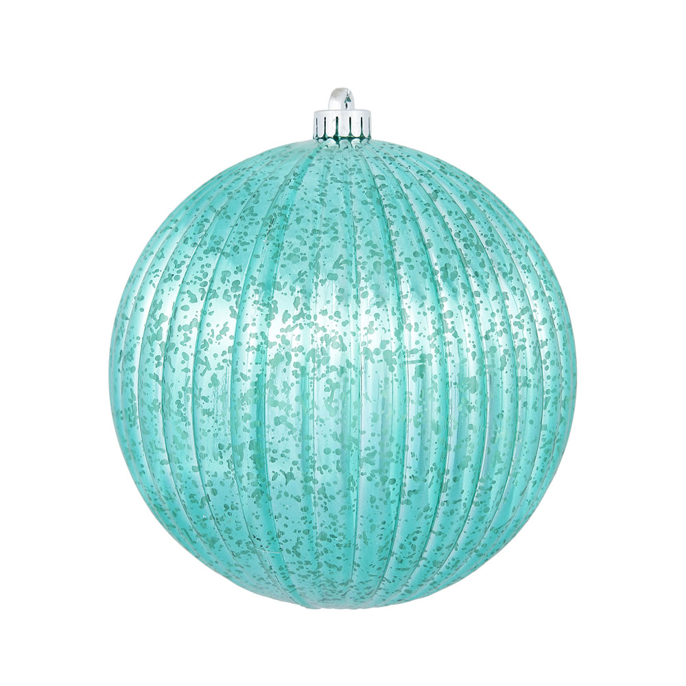 4 Inch Teal Mercury Pumpkin Christmas Ball Ornament Shatterproof 6 per Set