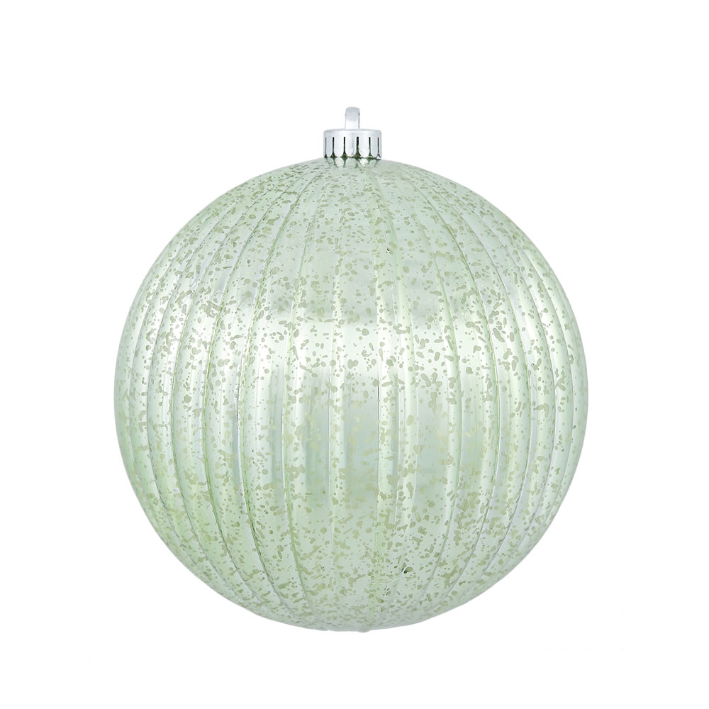 4 Inch Celadon Green Mercury Pumpkin Christmas Ball Ornament Shatterproof 6 per Set