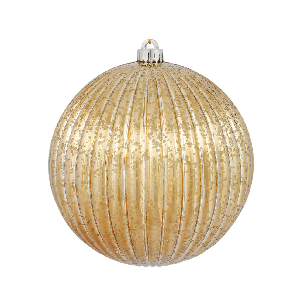 6 Inch Mocha Mercury Pumpkin Christmas Ball Ornament Shatterproof Set of 4