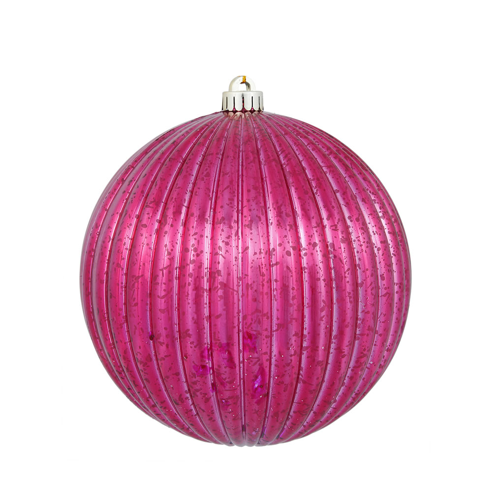 6 Inch Wine Mercury Pumpkin Christmas Ball Ornament Shatterproof Set of 4