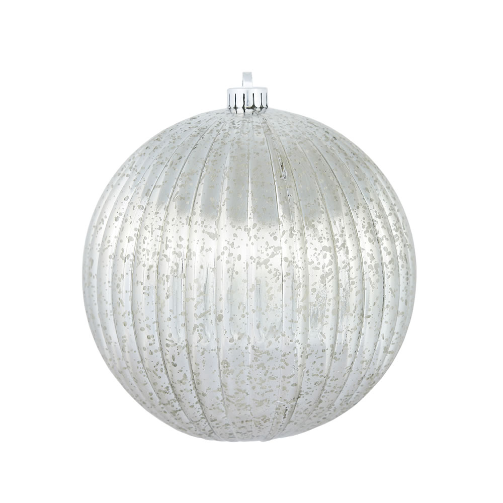 6 Inch Pewter Gray Mercury Pumpkin Christmas Ball Ornament Shatterproof Set of 4