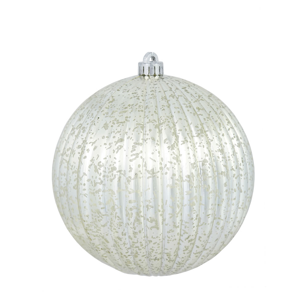 6 Inch Champagne Mercury Pumpkin Christmas Ball Ornament Shatterproof Set of 4