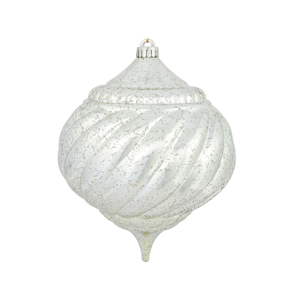 8 Inch Champagne Shiny Mercury Christmas Onion Spiral Ornament Shatterproof