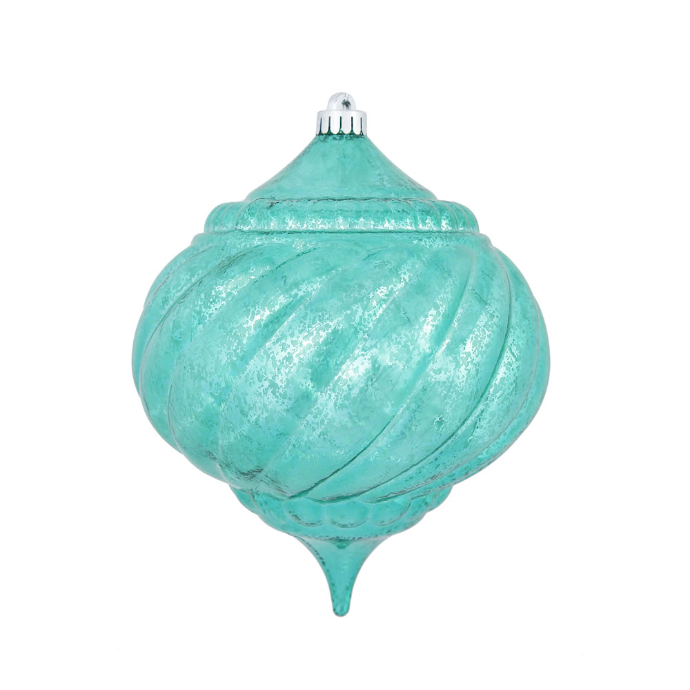 8 Inch Teal Shiny Mercury Christmas Onion Spiral Ornament Shatterproof