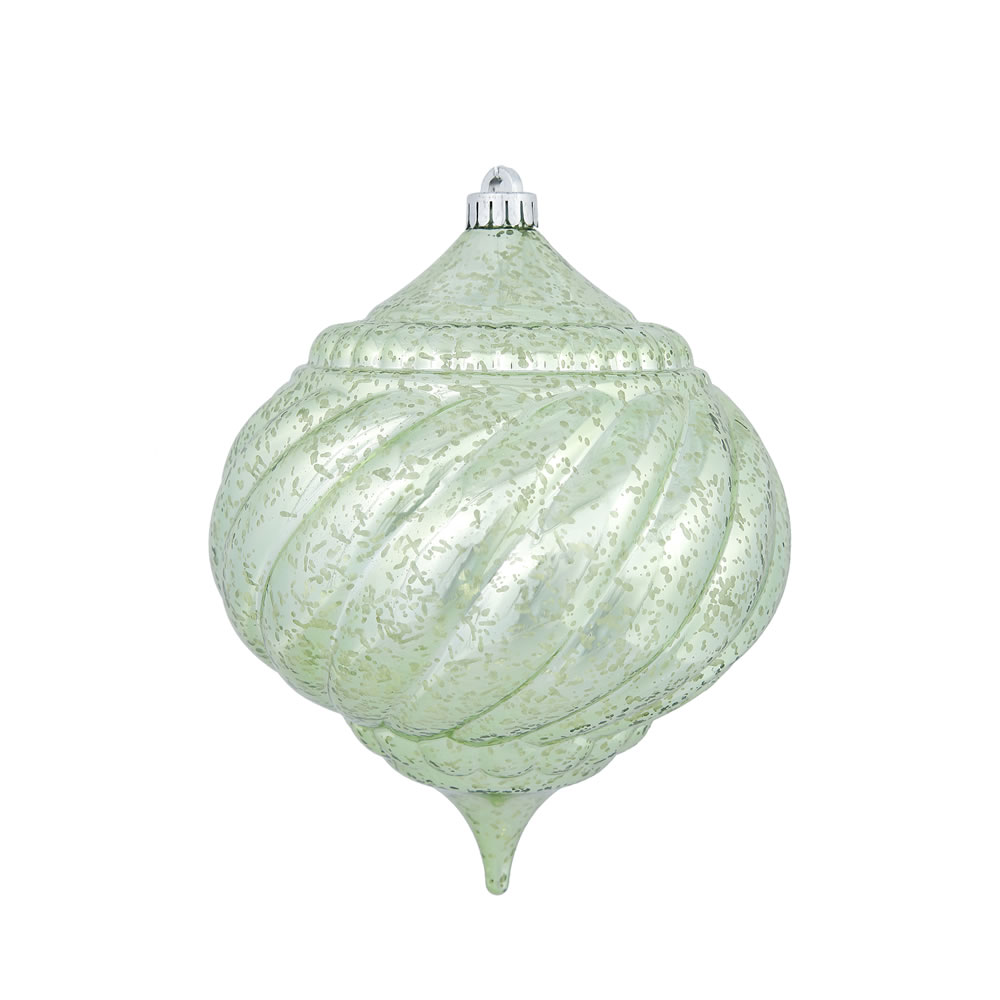 8 Inch Celadon Green Shiny Mercury Christmas Onion Spiral Ornament Shatterproof
