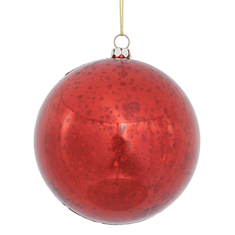 4 Inch Red Shiny Mercury Christmas Ball Ornament Shatterproof 6 per Set