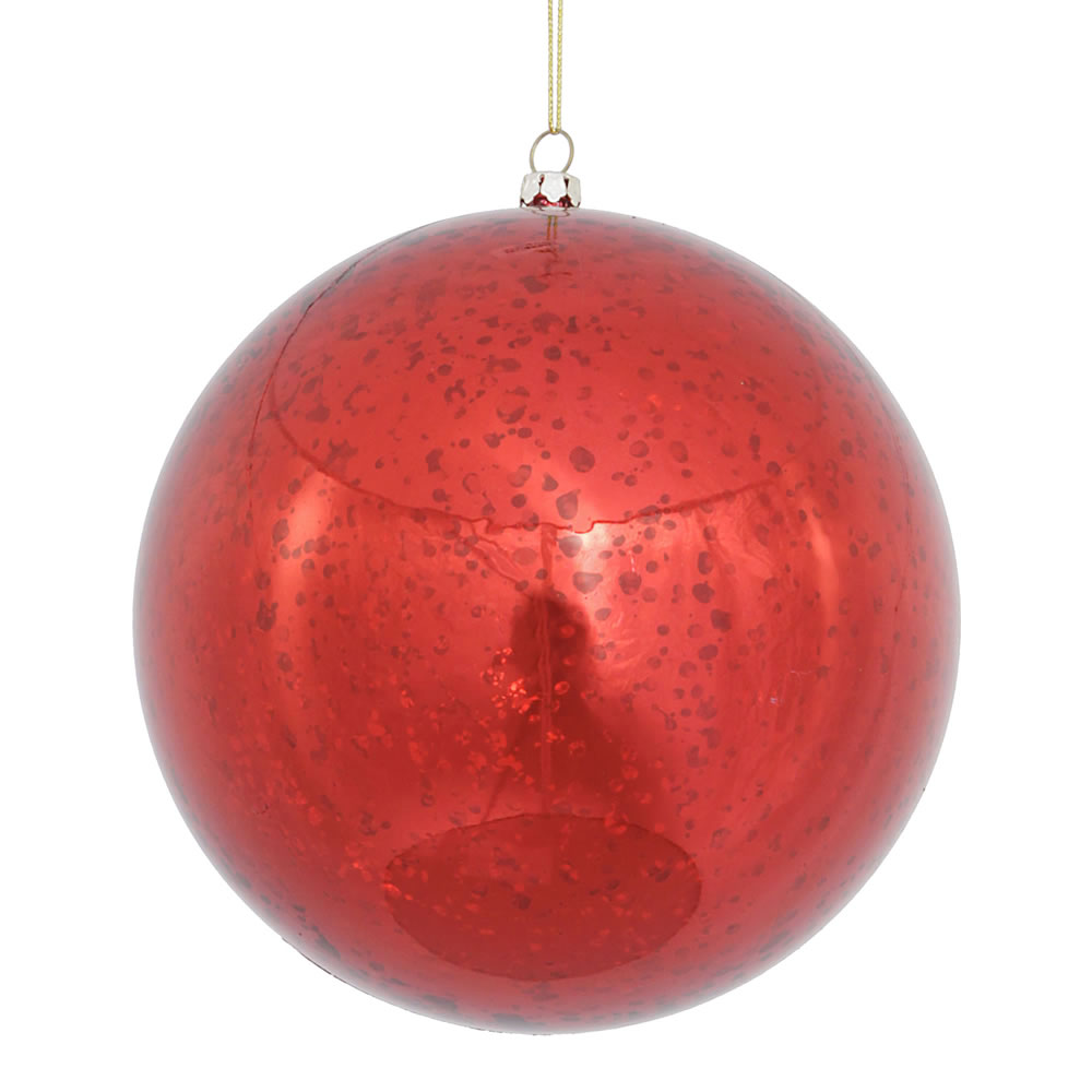 6 Inch Red Shiny Mercury Christmas Ball Ornament Shatterproof Set of 4