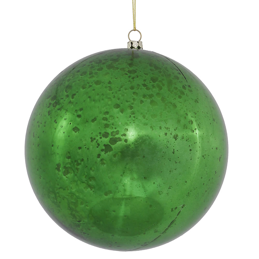 6 Inch Green Shiny Mercury Christmas Ball Ornament Shatterproof Set of 4