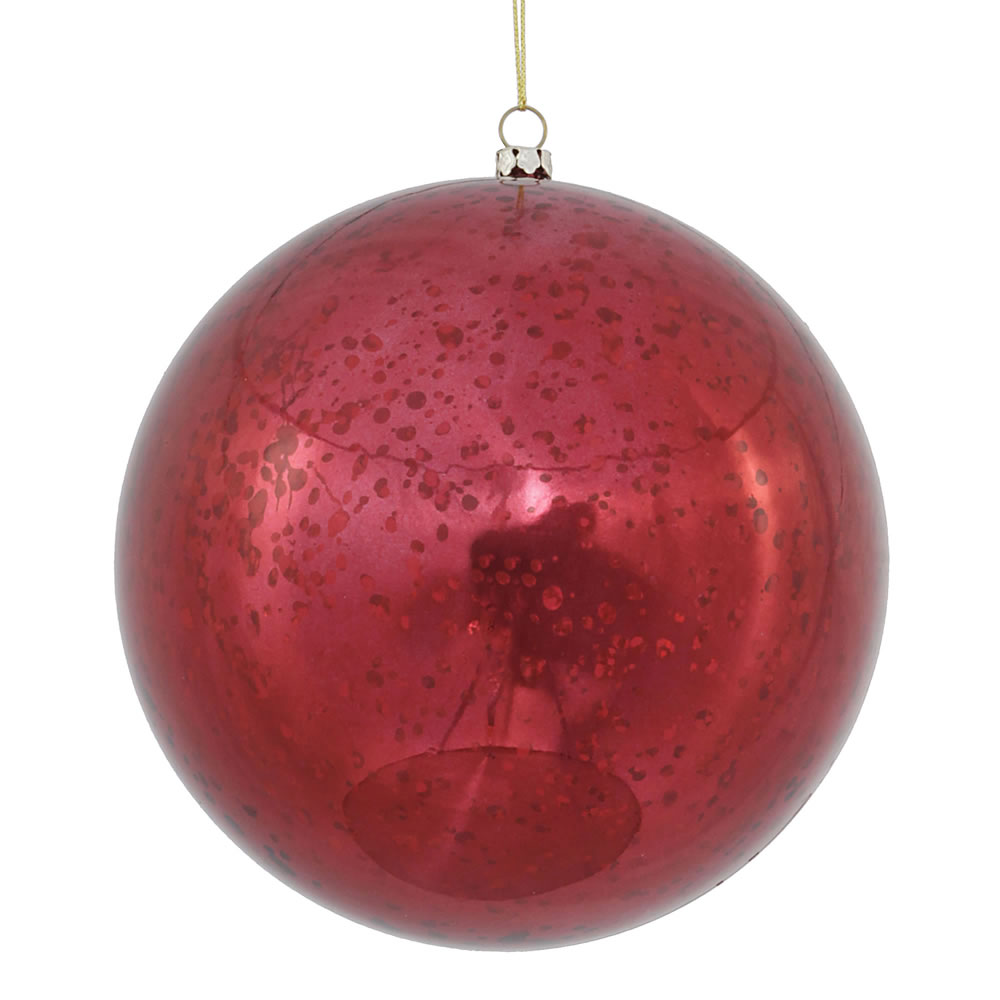6 Inch Burgundy Shiny Mercury Christmas Ball Ornament Shatterproof Set of 4