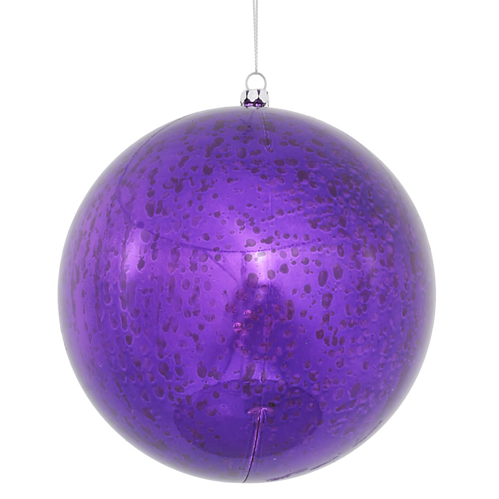6 Inch Purple Shiny Mercury Christmas Ball Ornament Shatterproof Set of 4