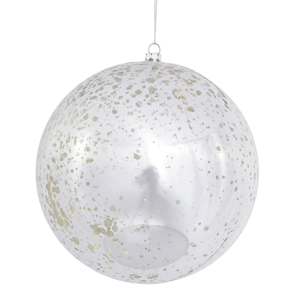 6 Inch Silver Shiny Mercury Christmas Ball Ornament Shatterproof Set of 4