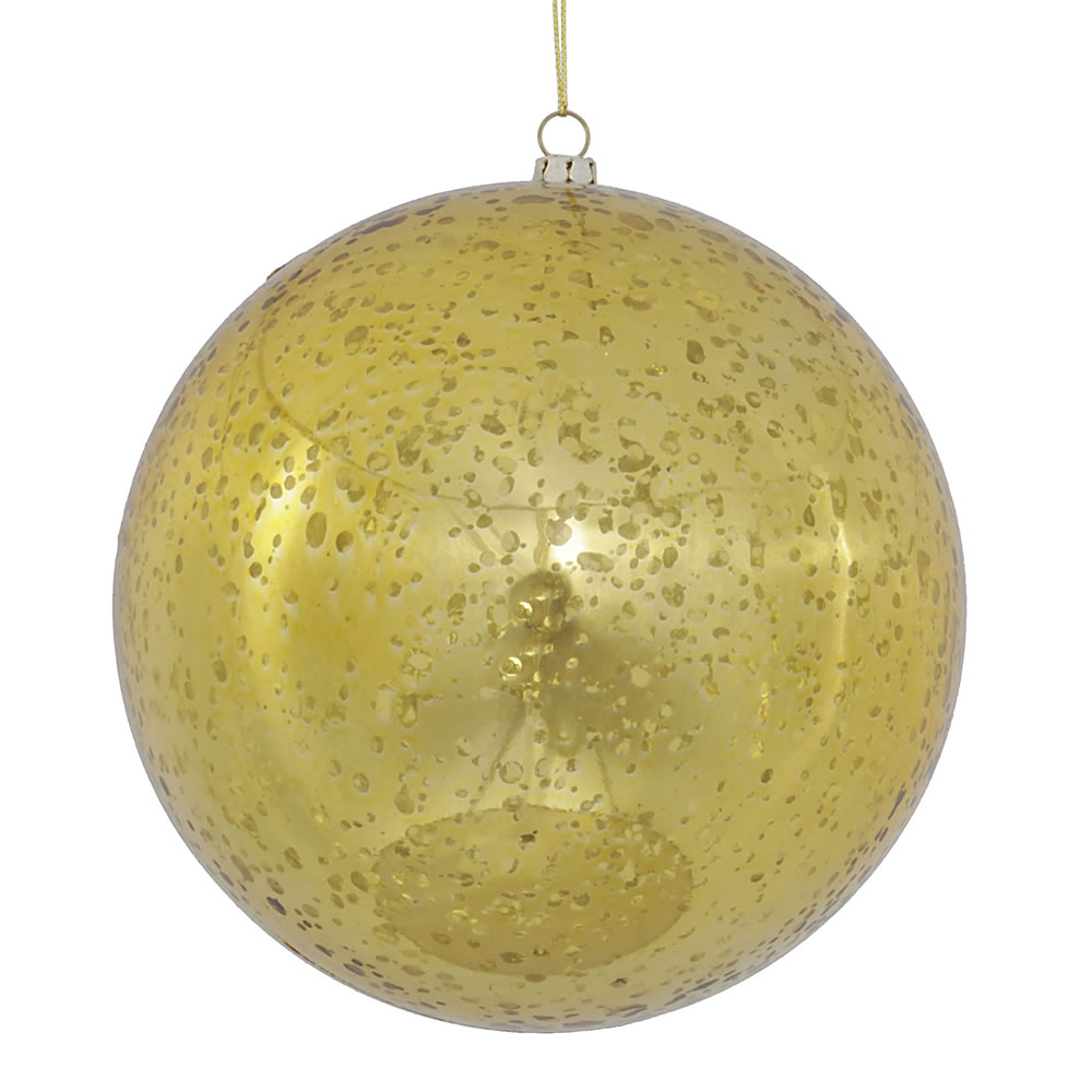 6 Inch Gold Shiny Mercury Christmas Ball Ornament Shatterproof Set of 4