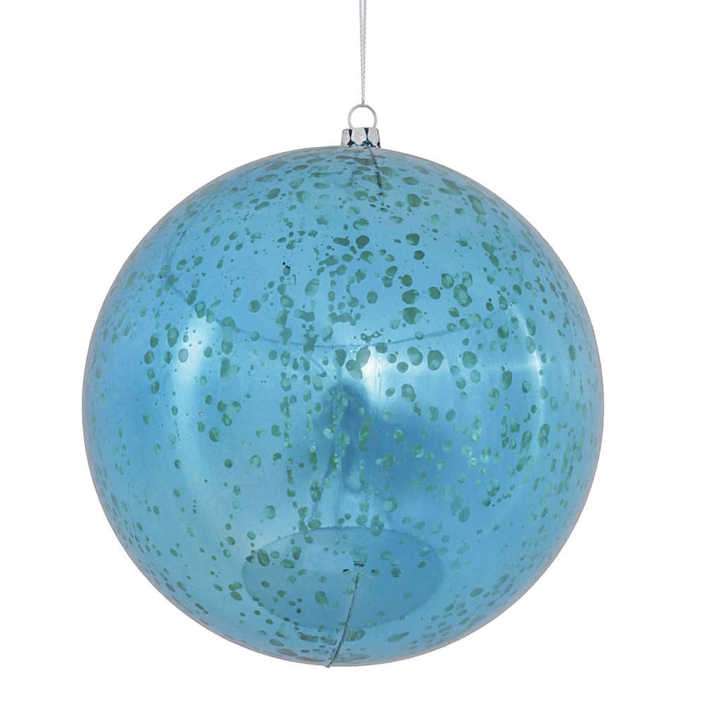 6 Inch Turquoise Shiny Mercury Christmas Ball Ornament Shatterproof Set of 4
