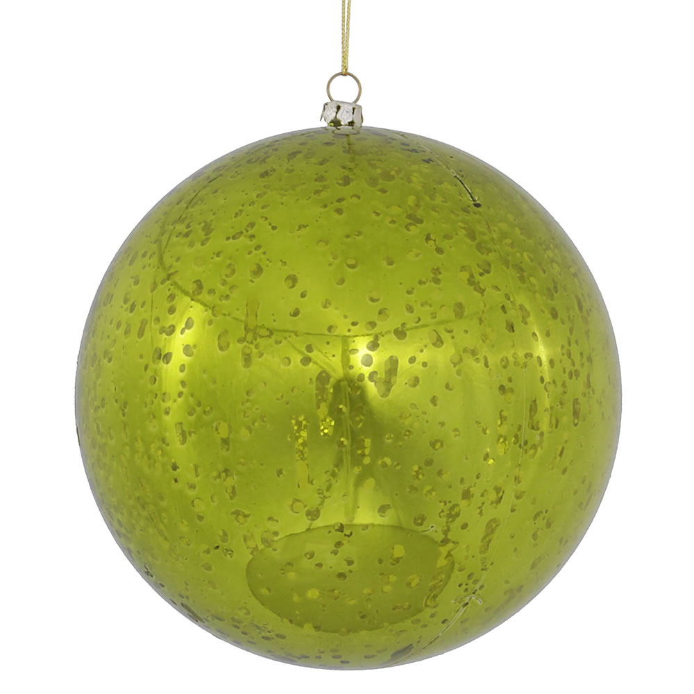 6 Inch Lime Green Shiny Mercury Christmas Ball Ornament Shatterproof Set of 4
