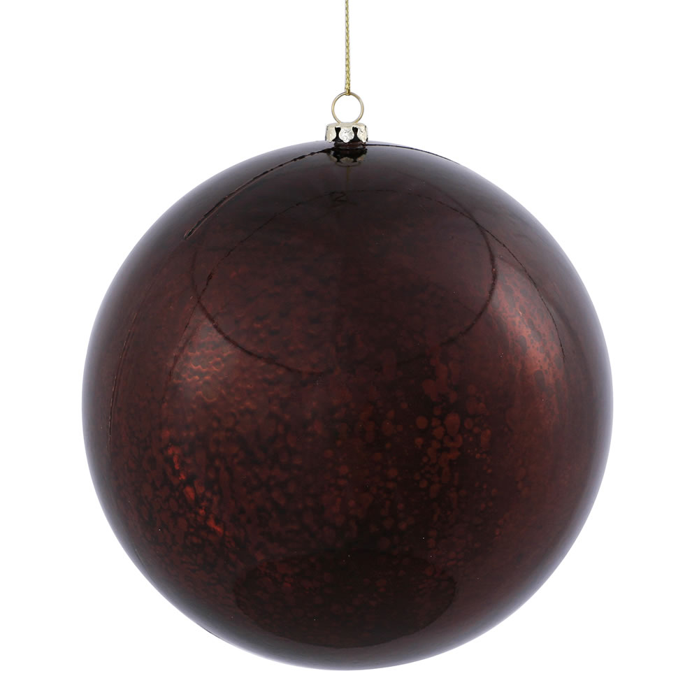 6 Inch Chocolate Brown Shiny Mercury Christmas Ball Ornament Shatterproof Set of 4