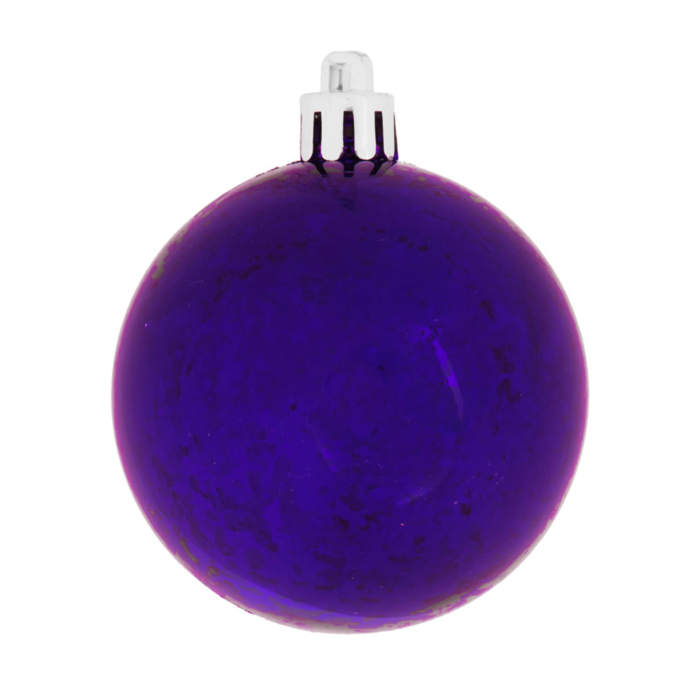 6 Inch Cobalt Blue Shiny Mercury Christmas Ball Ornament Shatterproof Set of 4