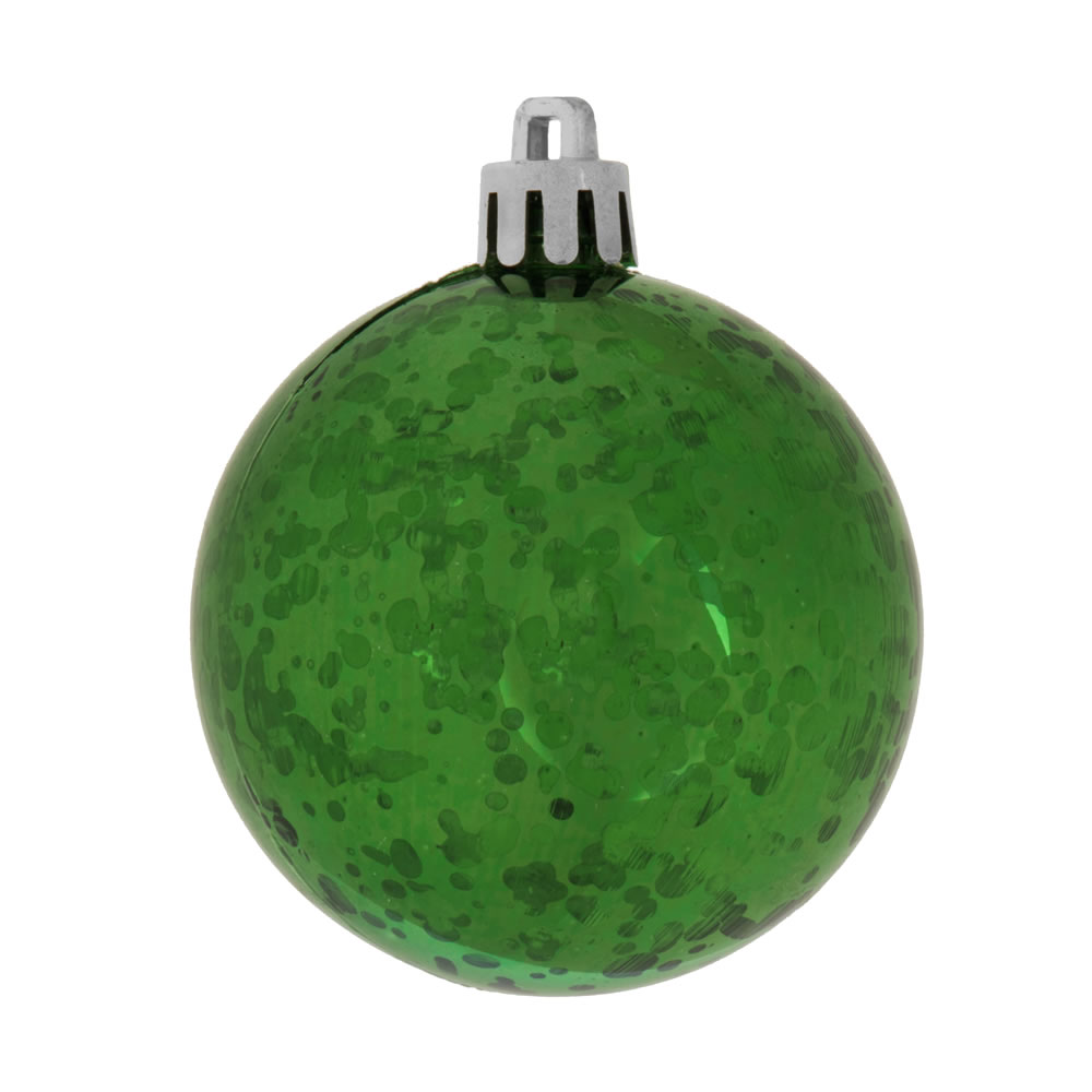 6 Inch Emerald Green Shiny Mercury Christmas Ball Ornament Shatterproof Set of 4
