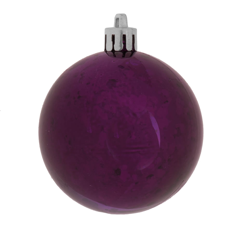 6 Inch Plum Shiny Mercury Christmas Ball Ornament Shatterproof Set of 4