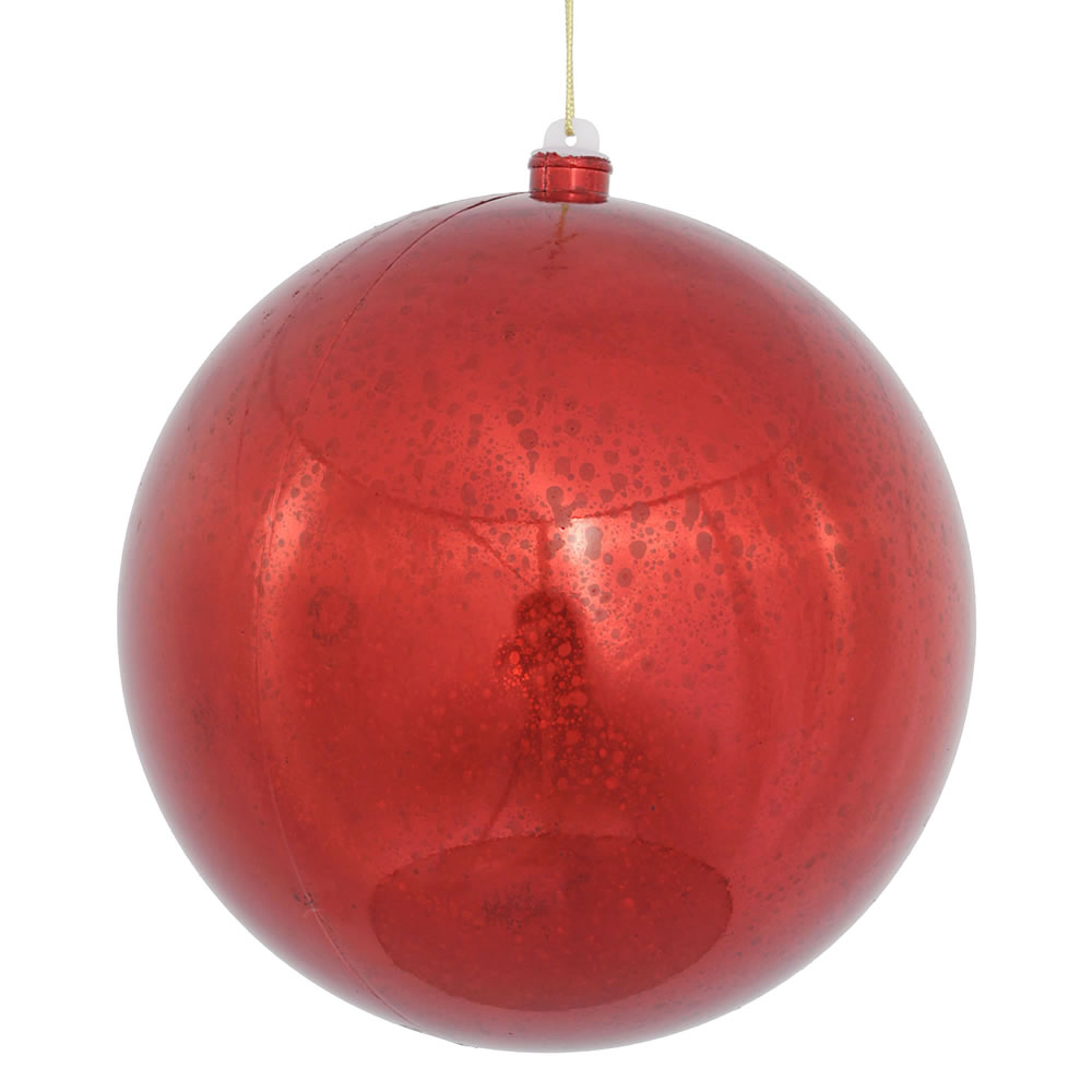 10 Inch Red Shiny Mercury Christmas Ball Ornament Shatterproof