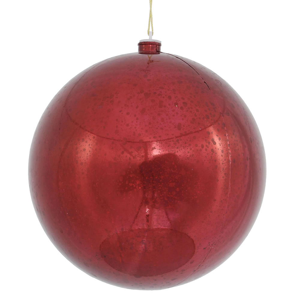 10 Inch Burgundy Shiny Mercury Christmas Ball Ornament