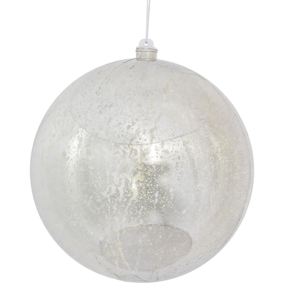 10 Inch Silver Shiny Mercury Christmas Ball Ornament Shatterproof