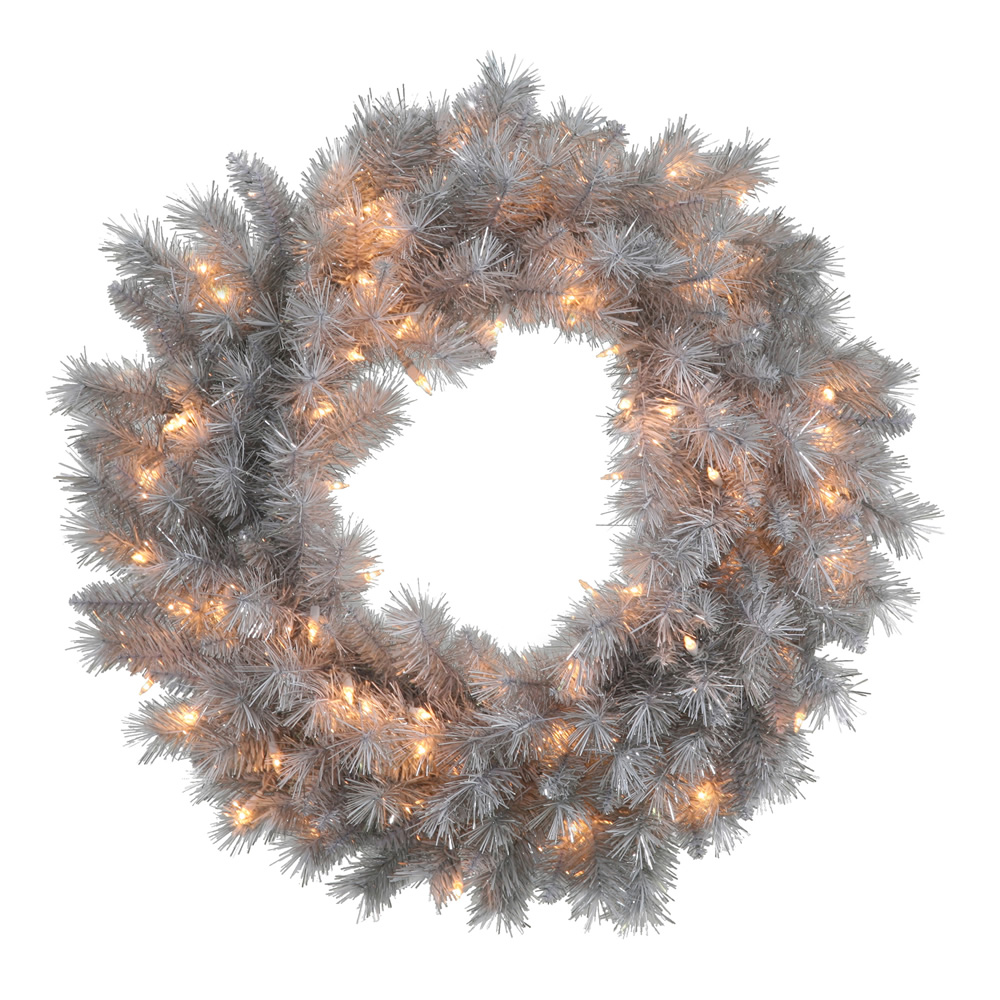 42 Inch Silver White Artificial Christmas Wreath 150 Clear Lights