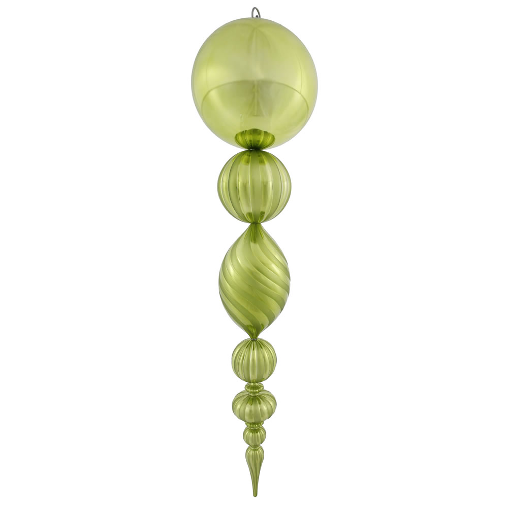 40 Inch Lime Green Matte Glossy Swirl Christmas Finial Ornament Shatterproof UV