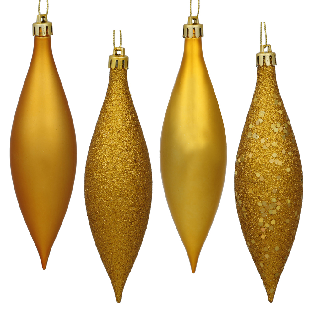 5.5 Inch Antique Gold Drop Christmas Ornament Assorted Finishes