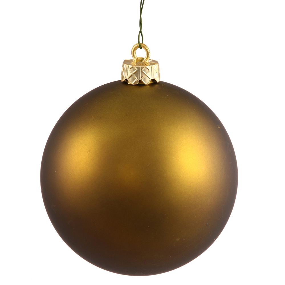 2.4 Inch Olive Green Matte Finish Round Christmas Ball Ornament Shatterproof UV