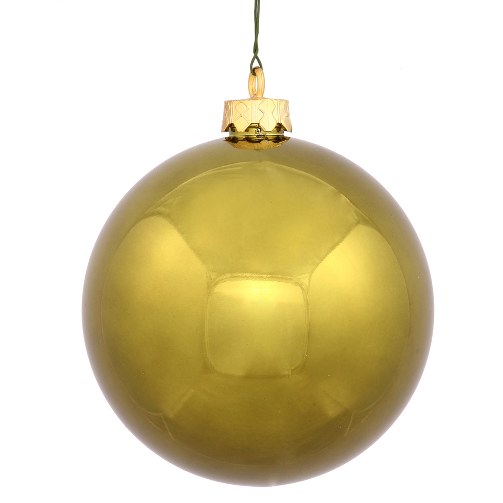 2.4 Inch Olive Green Shiny Finish Round Christmas Ball Ornament Shatterproof UV