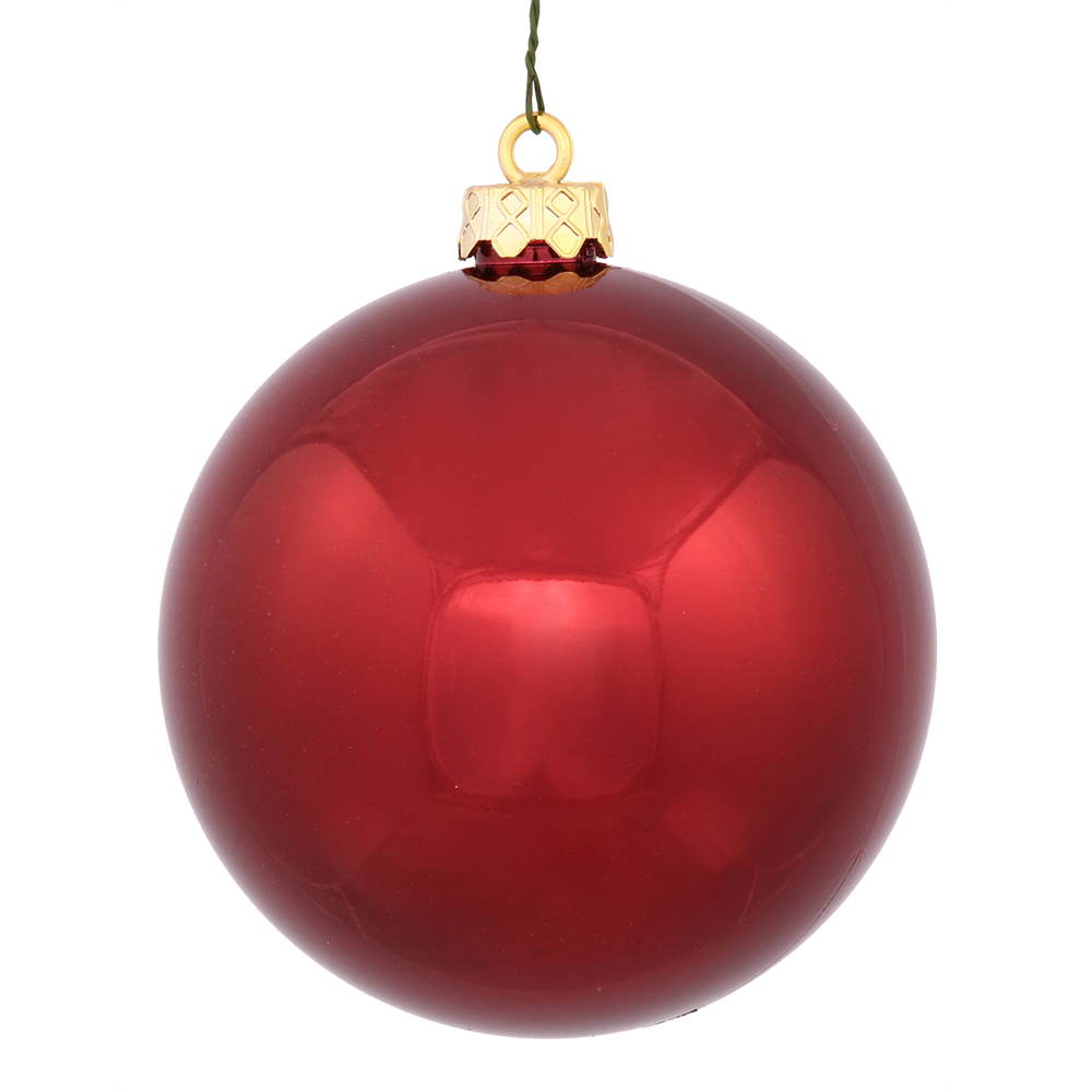 3 Inch Burgundy Shiny Finish Round Christmas Ball Ornament Shatterproof UV 4 per Set