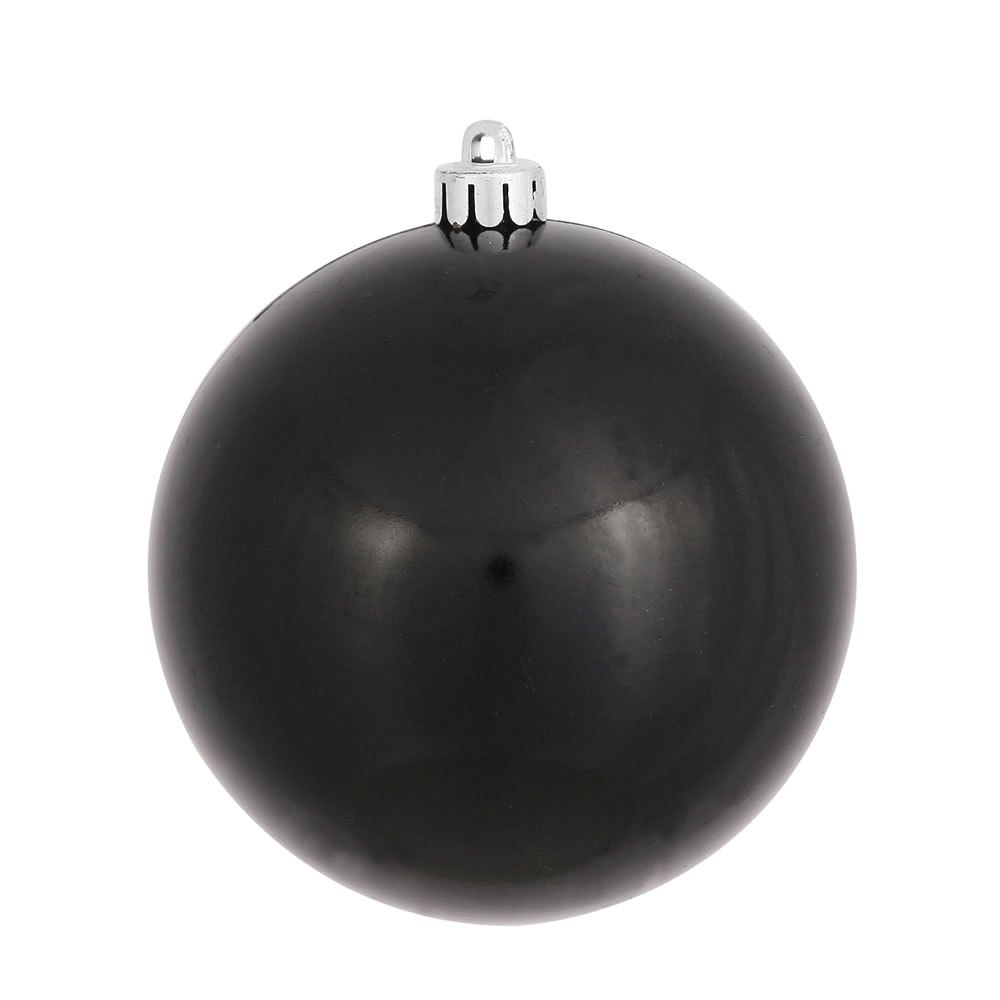 3 Inch Black Candy Finish Round Christmas Ball Ornament Shatterproof UV