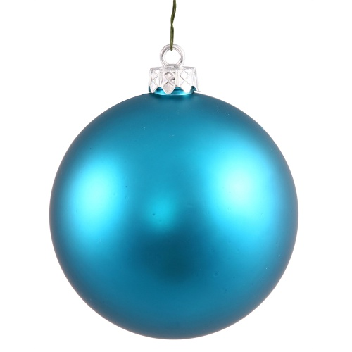 4.75 Inch Turquoise Matte Round Christmas Ball Ornament Shatterproof UV