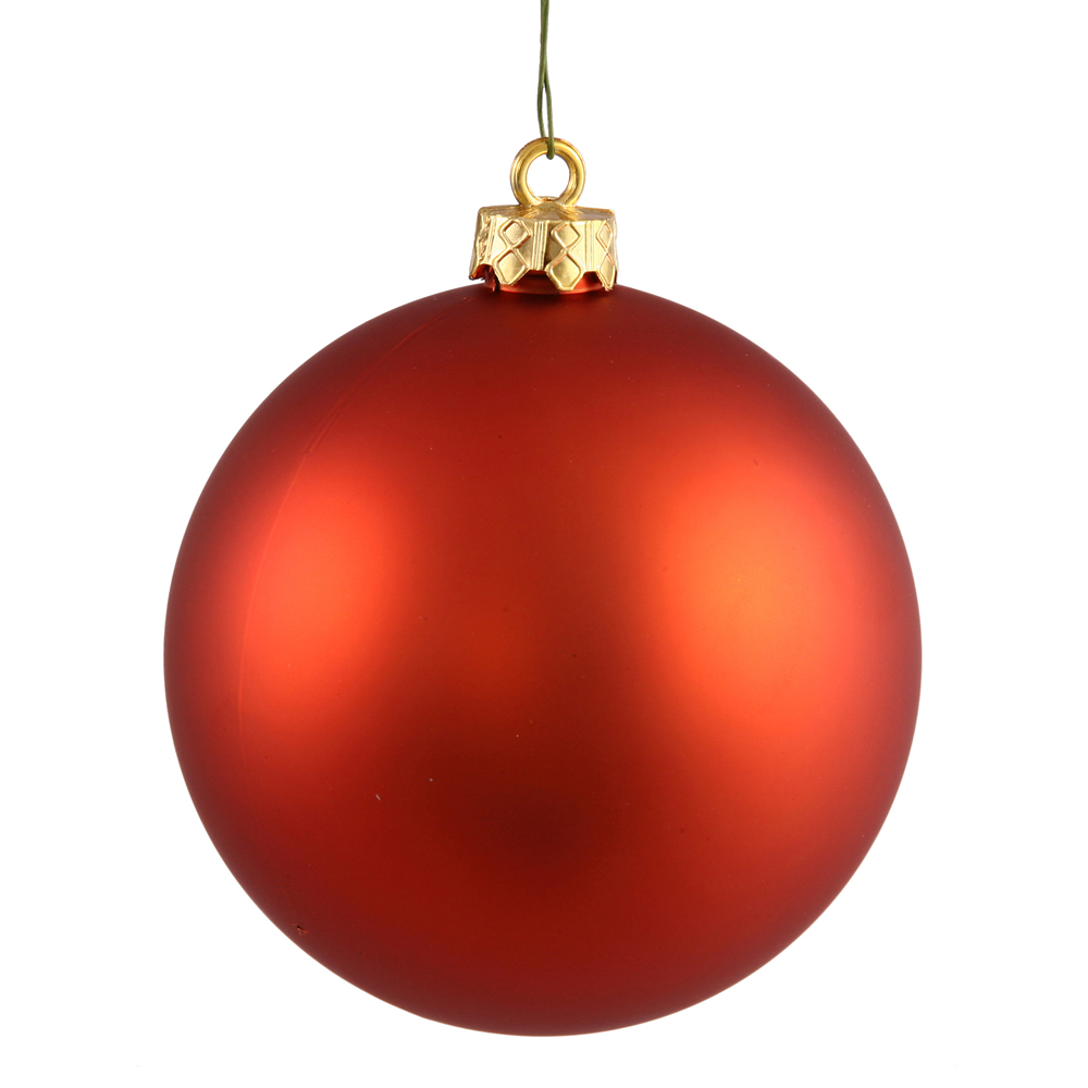 8 Inch Burnish Orange Matte Round Ornament