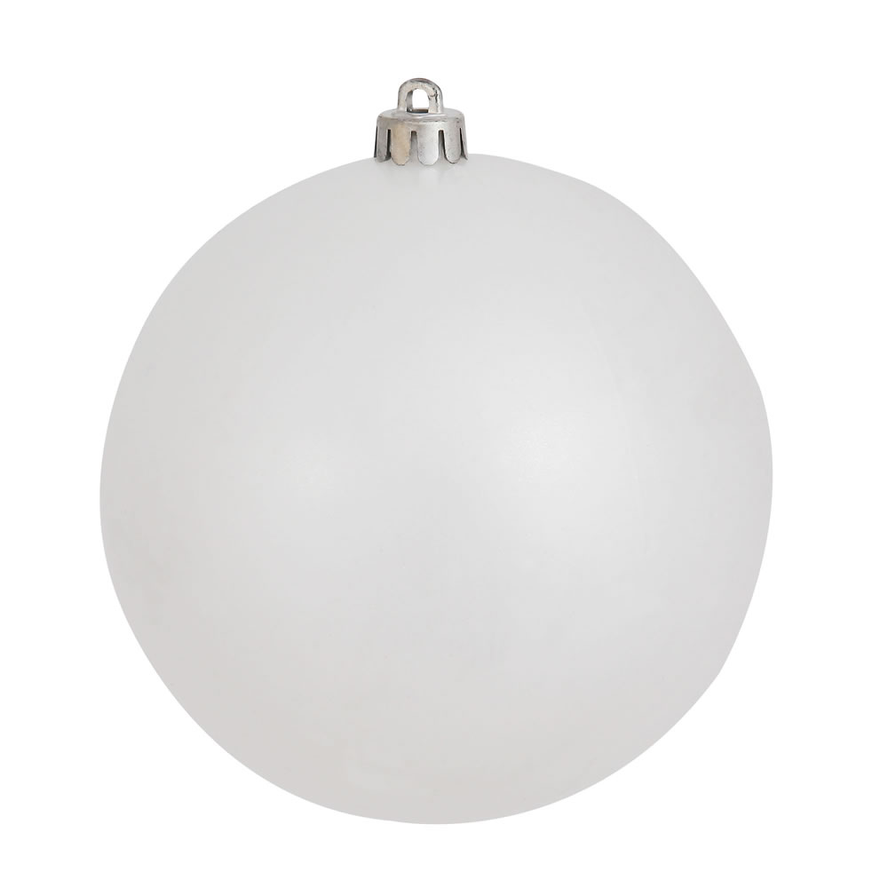 10 Inch White Candy Christmas Ball Ornament - Shatterproof UV