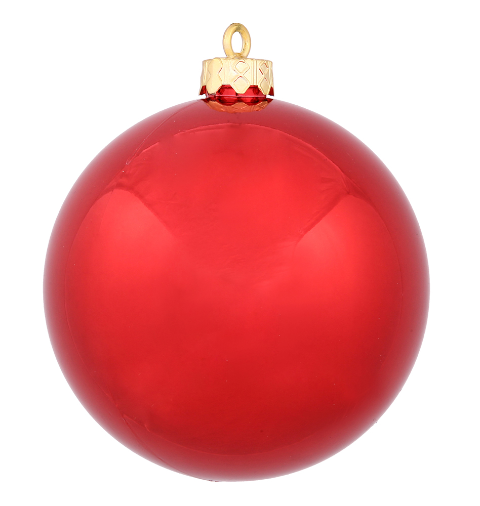 10 Inch Red Shiny Christmas Ball Ornament - Shatterproof - UV