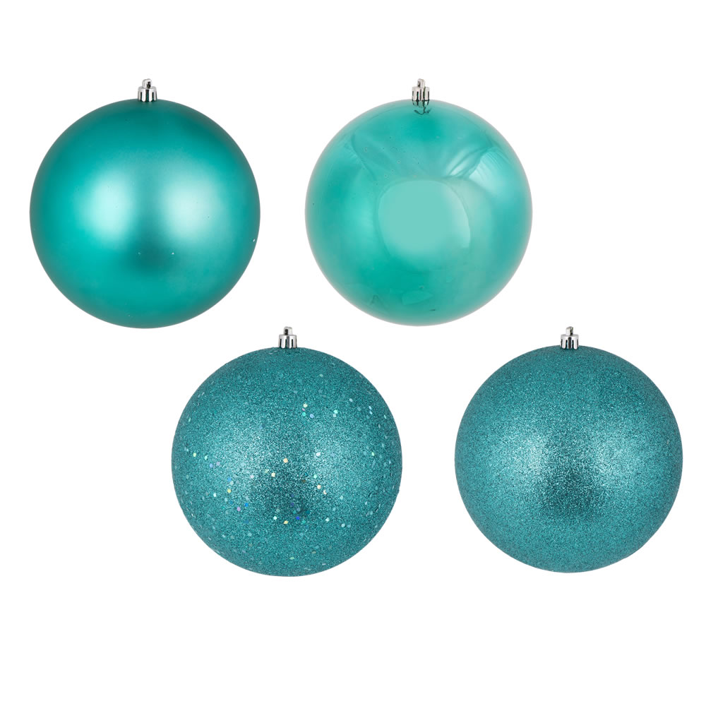 10 Inch Teal Christmas Ball Ornaments Shatterproof Set of 4 Assorted