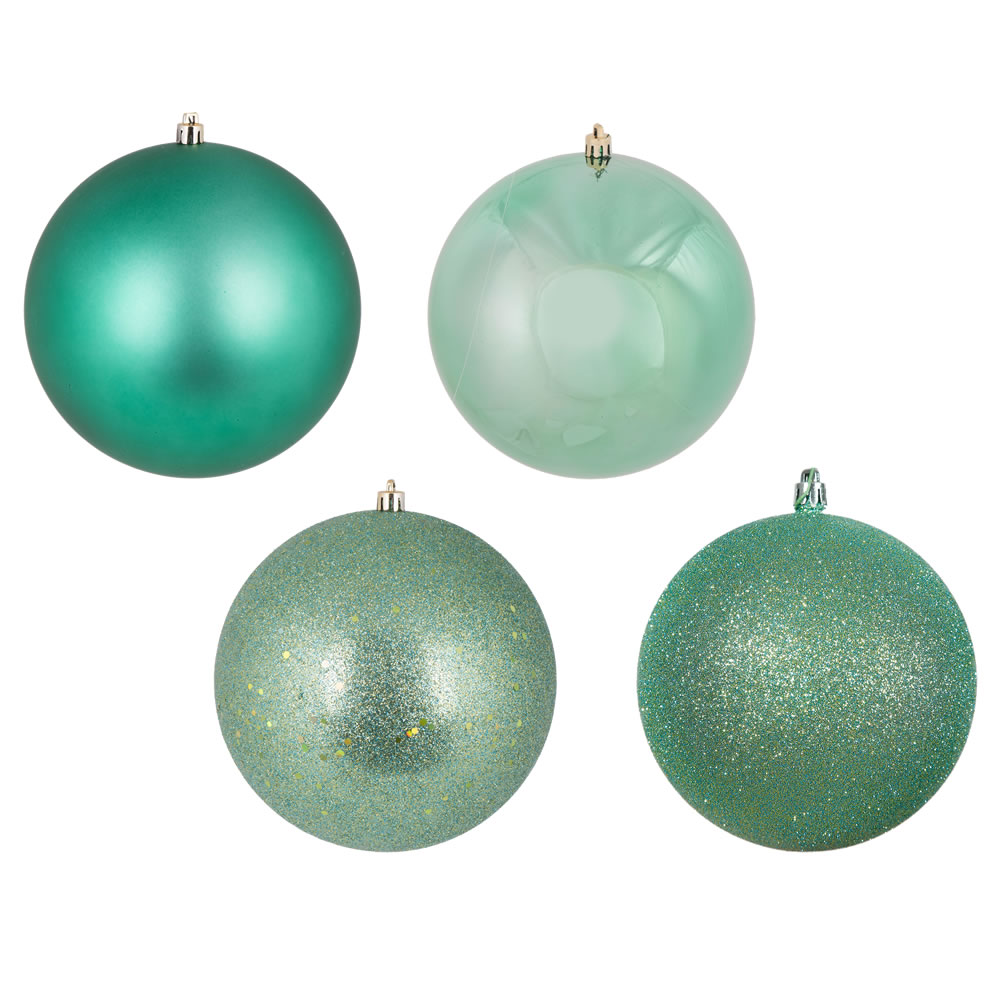10 Inch Seafoam Green Christmas Ball Ornament Shatterproof Set of 4 Assorted