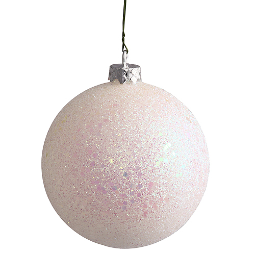 12 Inch White Sequin Round Christmas Ball Ornament Shatterproof UV
