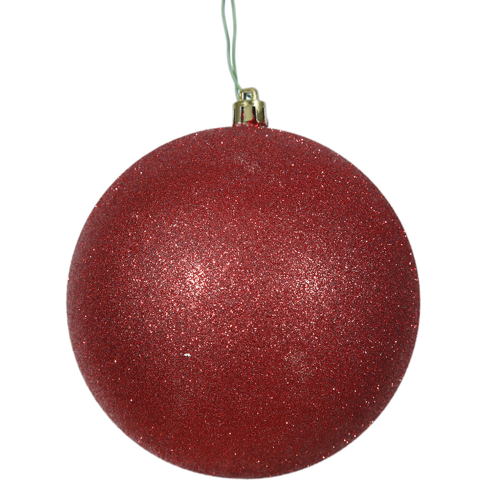 12 Inch Red Glitter Christmas Ball Ornament Shatterproof