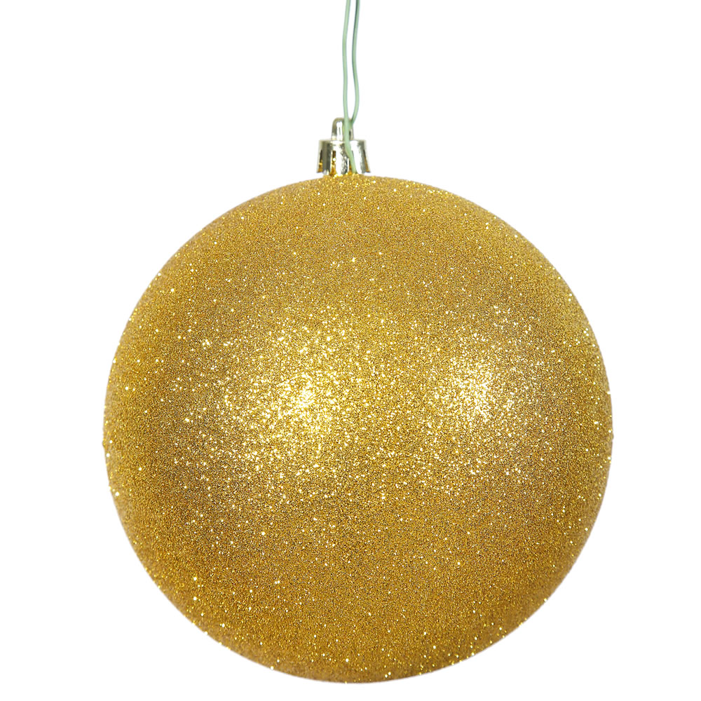 12 Inch Gold Glitter Christmas Ball Ornament Shatterproof
