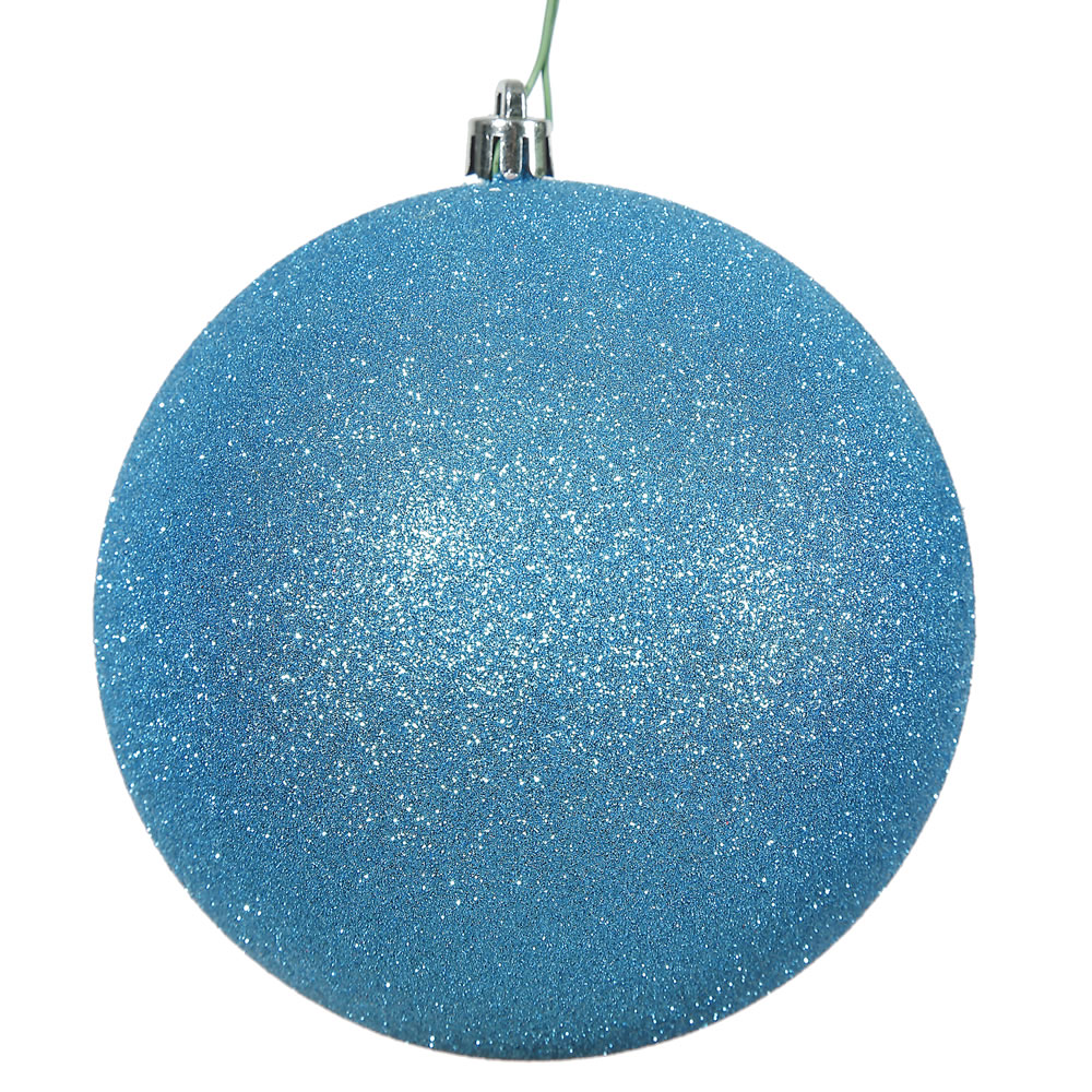 12 Inch Turquoise Glitter Round Christmas Ball Ornament Shatterproof UV
